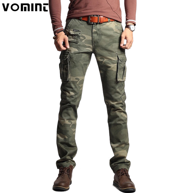 Vomint New Men Fashion Military Cargo Army Pants Slim Regualr Straight Fit Cotton Multi Color Camouflage Green Yellow V7A1P015