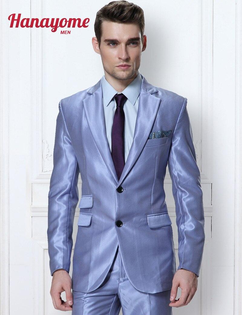 Luxury Royal Blue Mens Suit Men's Smooth 2 Pieces Wedding Event Suit & Trousers 10 Colors Men's Suit With Shiny Satin D327
