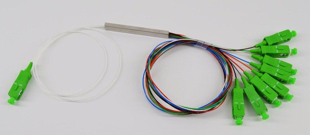 Livraison Gratuite 10 pcs/lot 0.9mm SM Tube En Acier 1x8 Mini Blockless SC/APC 8 Ports Fiber optique PLC Splitter
