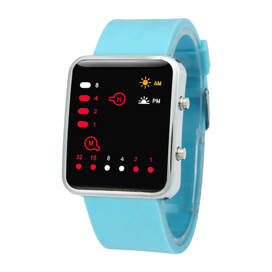 Unisex Silicone Sport Watch Red LED Digital Binary Wrist Sport Item Color:sky blue plastic silicone wrist fingers arm training force ball w led red green black