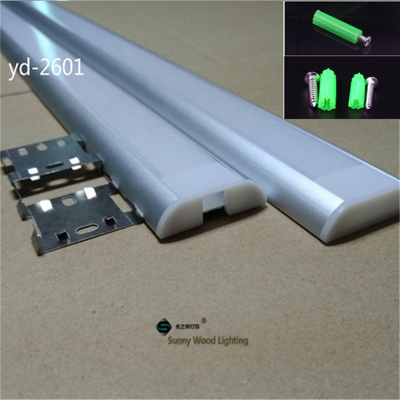 5-30pcs/lot 40inch 1m Led channel for strips, dual row tape led aluminium profile for 26mm pcb ,clear/milky frosted cover bar 10 50 meters pack 1m per piece led aluminum profile slim 1m with milky diffuse or clear cover for led strips