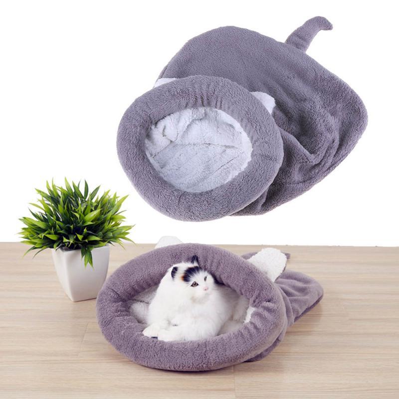 Милый Кот теплый спальный мешок с рисунком собачки и котика кровать собака дом прекрасный мягкая кошка Коврики Подушки высокое качество пр... ...