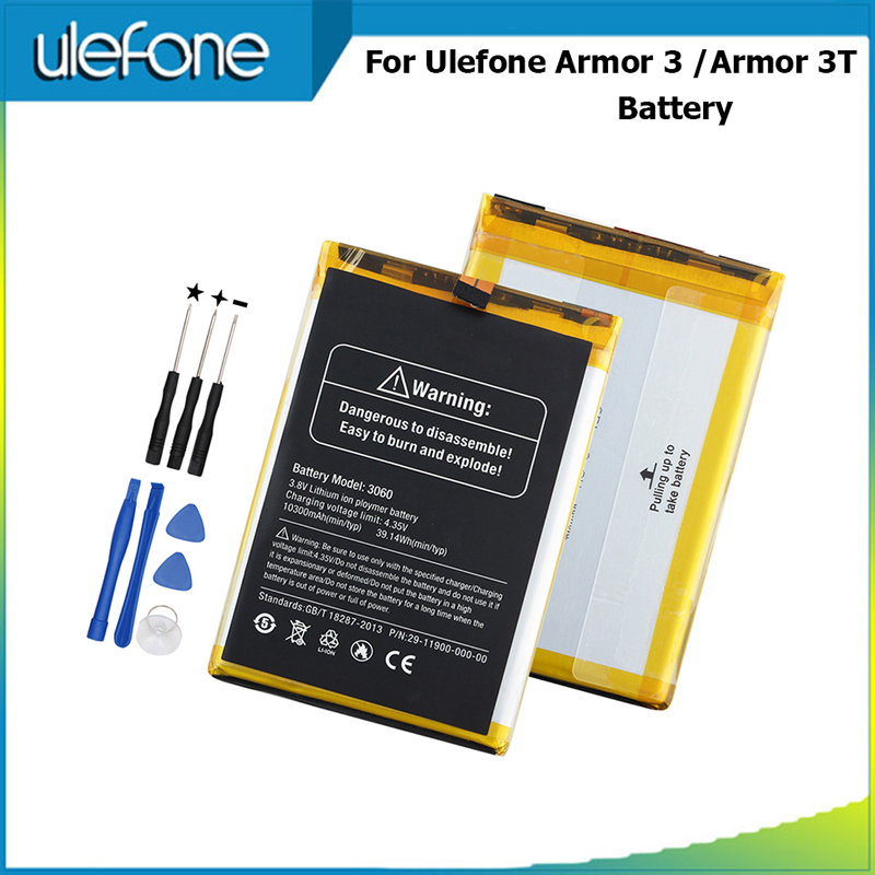 Alesser For Ulefone Armor 3 Battery 3060mAh High Capacity Replacement Accessory Accumulators +Tool For Ulefone Armor 3T BatteriaAlesser For Ulefone Armor 3 Battery 3060mAh High Capacity Replacement Accessory Accumulators +Tool For Ulefone Armor 3T Batteria