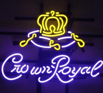 Yellow Crown Royal Glass Neon Light Sign