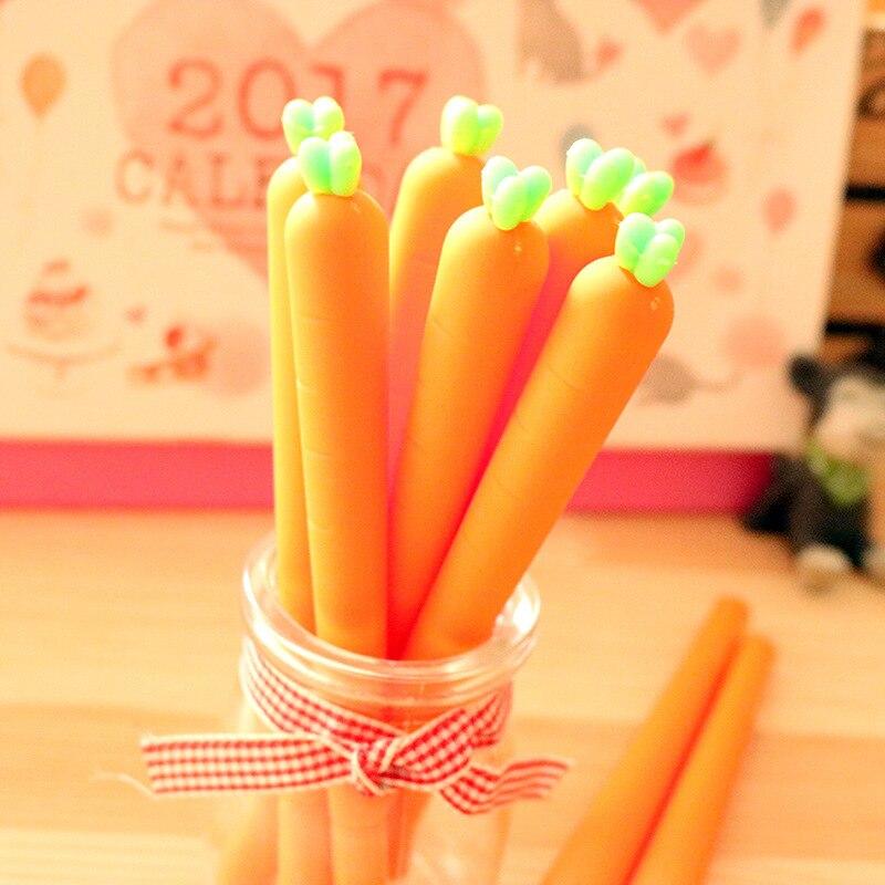 36pcs/lot Cute Carrot Gel Pen , 0.5mm Black Ink for Kids Writing