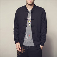 Spring autumn China style solid casual jacket Stand collar Mens Outerwear Coats High Quality breathable black Sweatshirt button