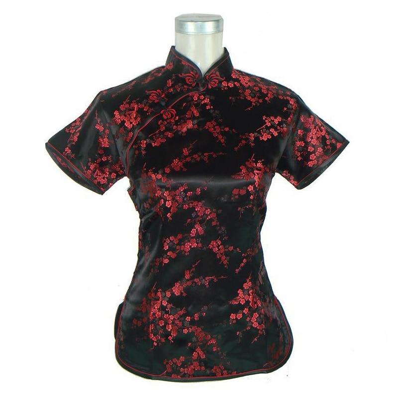 Black Red Summer Women Casual Shirt Short Sleeve Silk Satin Blouse Chinese National Flower Clothing S M L XL XXL WS010