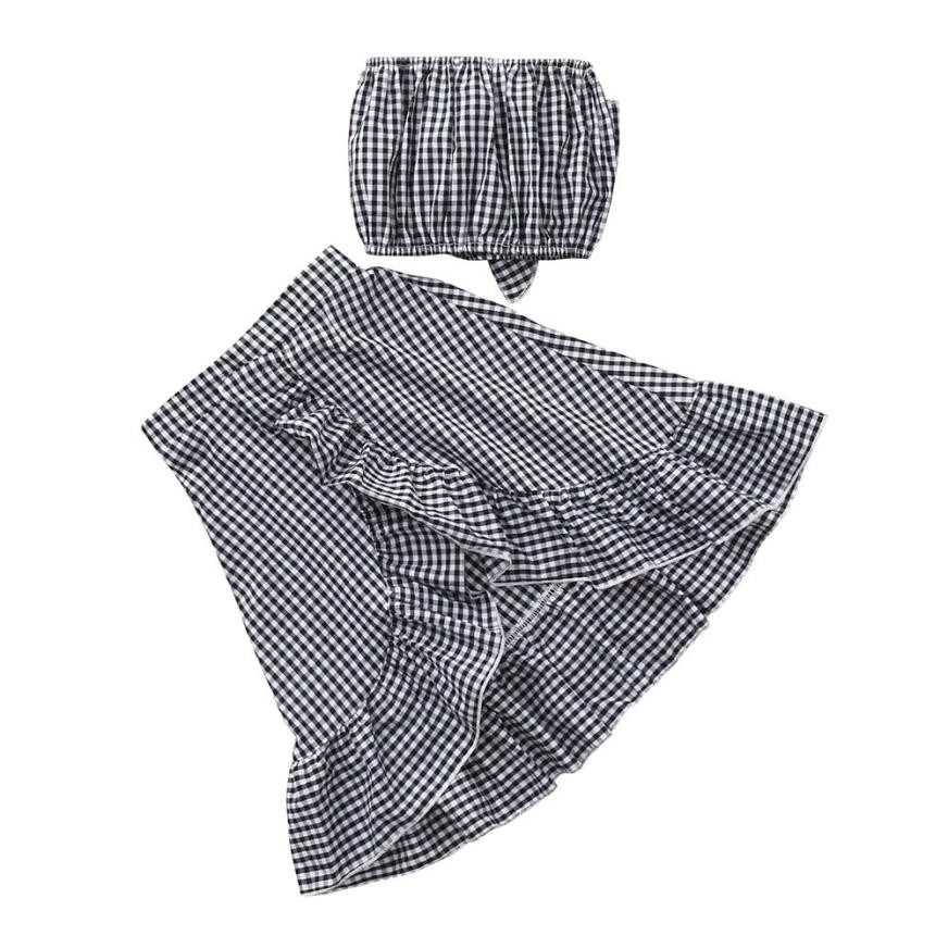 MUQGEW Summer childrens clothing 2Pcs Toddler Kids Baby Girls Sleeveless Plaid Tops+ Skirts Outfit Set Kids clothes