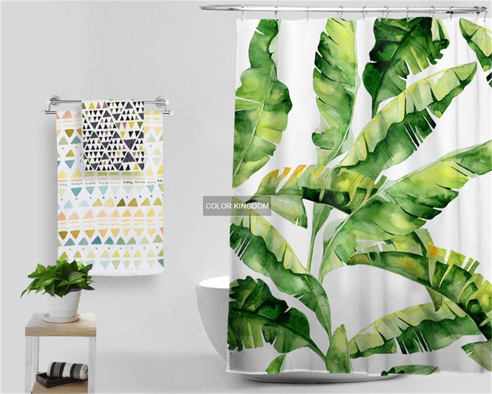 Koop! banana bladeren patroon douchegordijn beknopte comfortabele