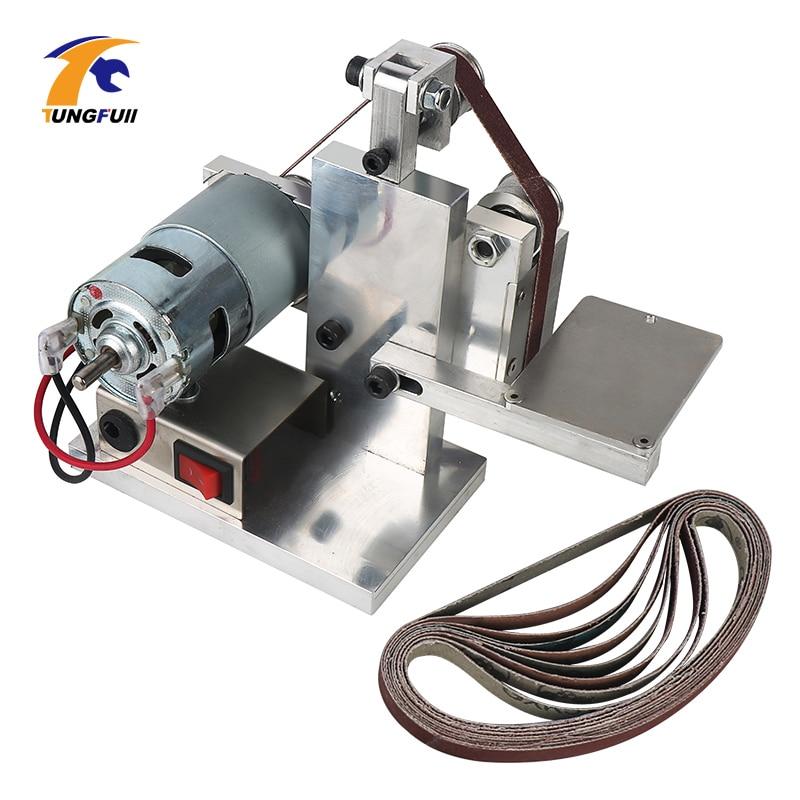 Mini Electric Belt Sander DIY Woodworking Desktop Grinder Electric Angle Grinder Polishing Grinding Machine Buffer