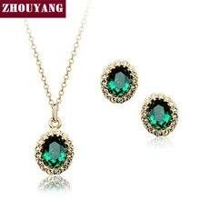 ZHOUYANG ZYS106 de Calidad Superior Plateó Creado Verde Esmeralda de Cristal Austriaco Joyería Conjunto Con 2 Unids Eearrings + Collar