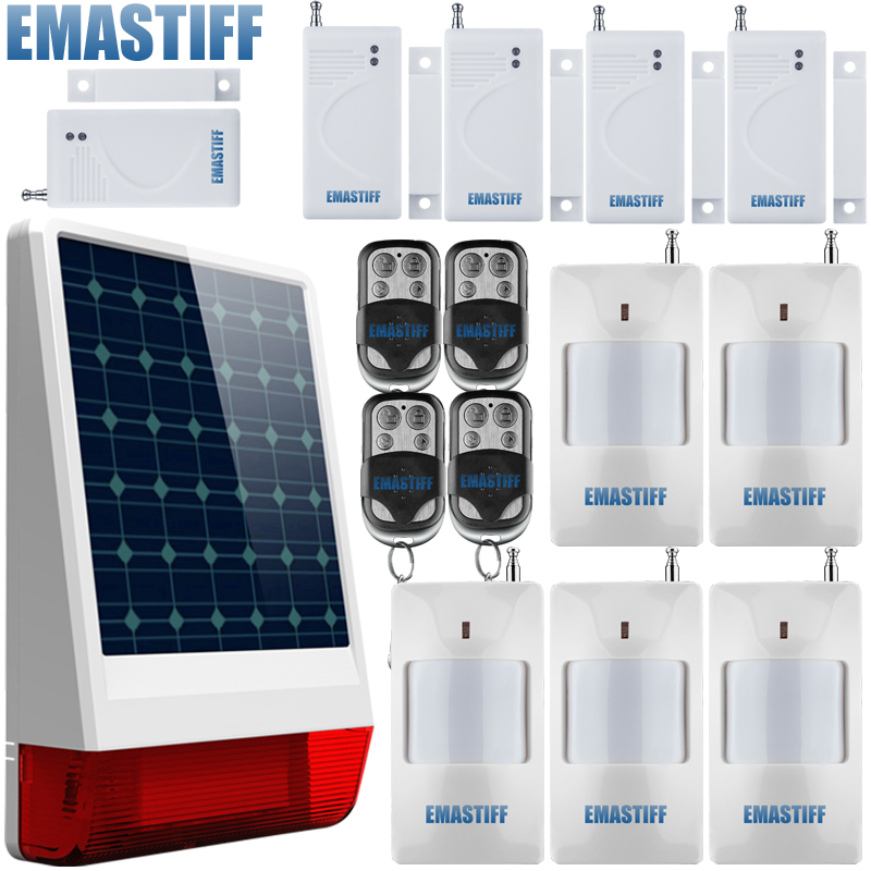 waterproof Spot Solar Alarm System Sound and Flash Siren with Motion Sensor/door sensor and Remote Control high quality solar spot alarm system kit 433mhz wireless outdoor siren with bright flash to make powerful warning