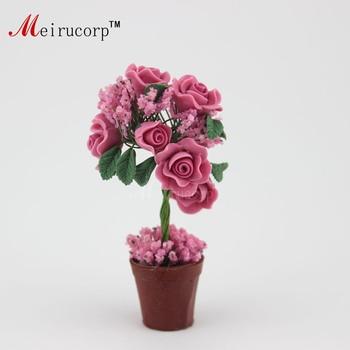 Dollhouse 1:12 Scale Miniature Potted plants Blooming flowers and pots 09883 1 12 dollhouse miniature potted plant ceramic pot brasiletto