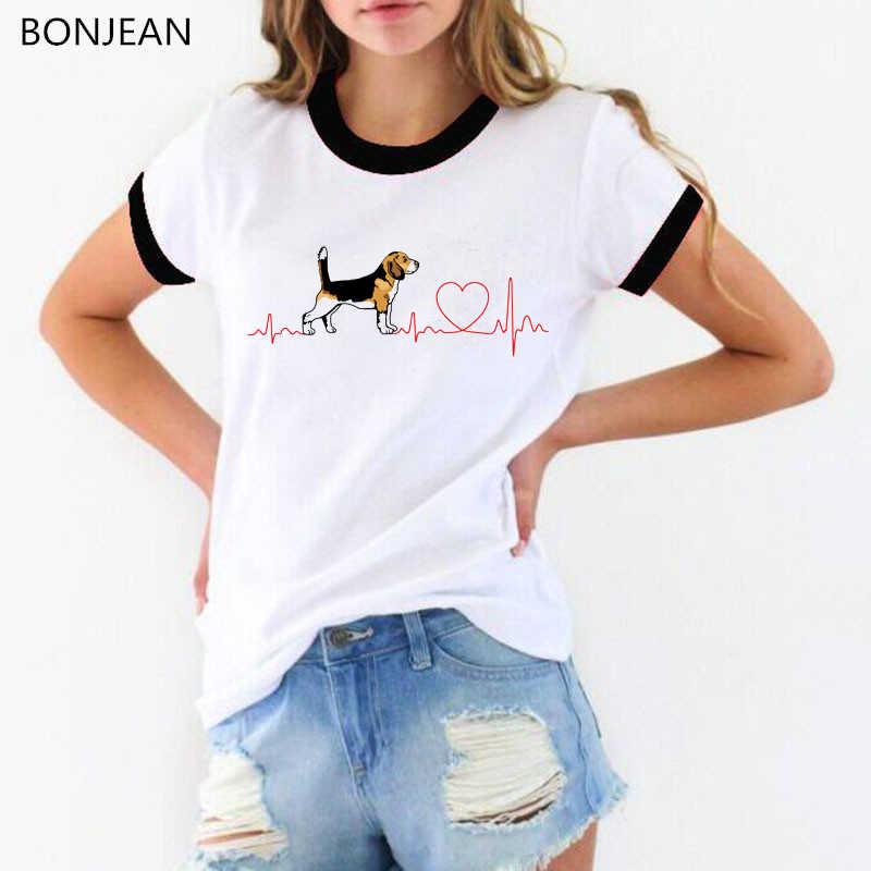 Beagle amore ECG Divertente T-Shirt delle donne di harajuku kawaii parti superiori di Estate tee shirt femme Carino Casual Della Ragazza Della maglietta femminile tumblr t camicia