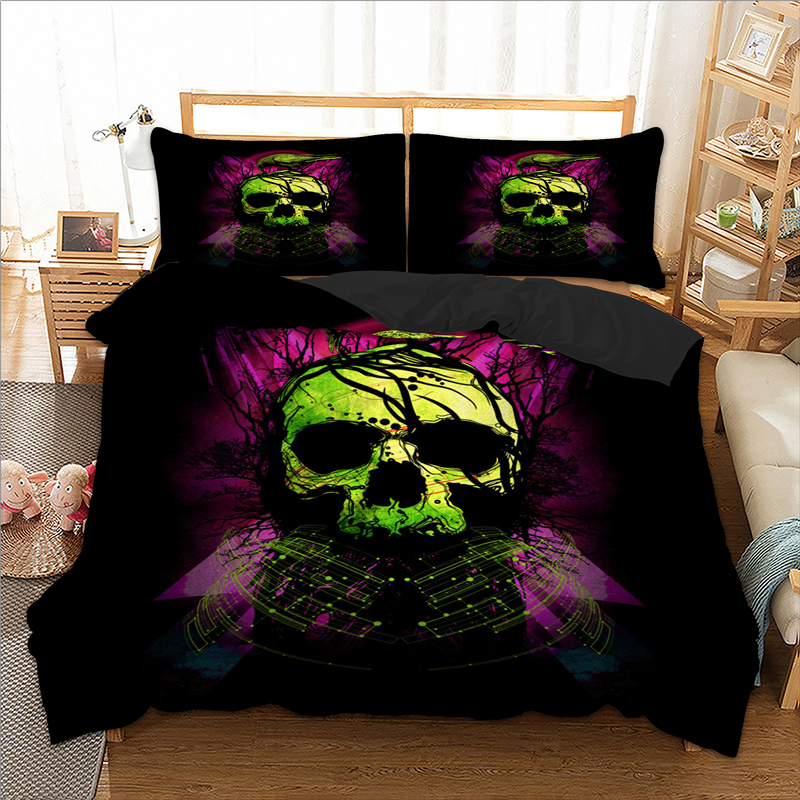 Image 1 - wongsbedding green Skull bird Duvet Cover Bedding Set Twin Full Queen King Size 3PCS-in Bedding Sets from Home & Garden