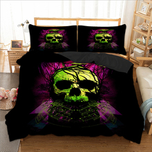 wongsbedding green Skull bird Duvet Cover Bedding Set Twin Full Queen King Size 3PCS