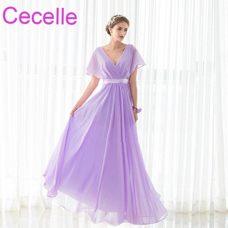 Simple Lilac Chiffon Beach Long Bridesmaid Dresses Floor Length A-line Pleats Women Formal Summer Wedding Party Gowns Sale