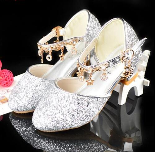 Princess Girls Sandals Kids Shoes For Girls Dress Shoes Little High Heel Glitter Summer Party Wedding Sandal Child
