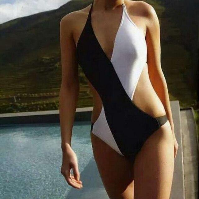 b8509b9bc1e5f Summer Style Hot 2017 Sexy Slim Low Waist Black and White Women One-Piece  Bikini Swimwear Push UP Swimsuit Bathing Suit Beach P5