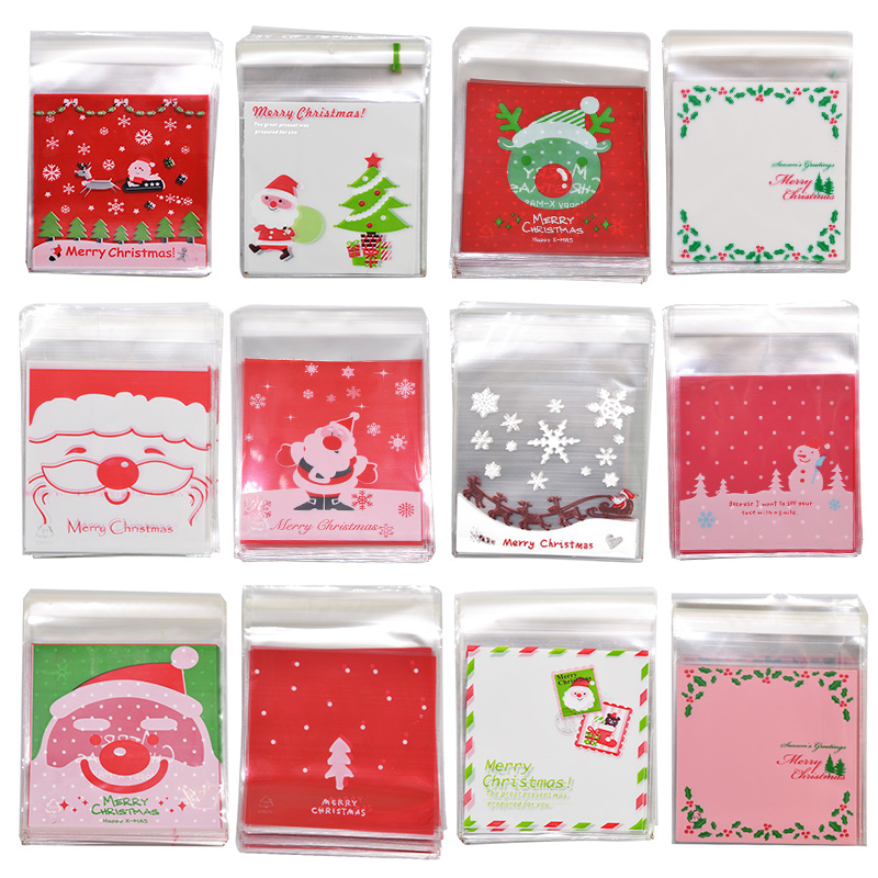 50Pcs 10cm*10cm Cartoon Gifts Bags Christmas Candy Cookie Packaging Self-adhesive Plastic Bags For Biscuits Snack Baking Package