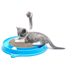 Pet Toys Cat Round Corrugated Paper Interactive Toy Scratch Board Ball Mouse Funny Disk Training