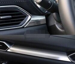 Dla Mazda CX 5 CX5 2017 2019 centrum konsoli środkowej panelu sterowania pokrywa osłonowa wnętrze ABS Chrome naklejki samochód stylizacji akcesoria Chromowane wykończenia    -
