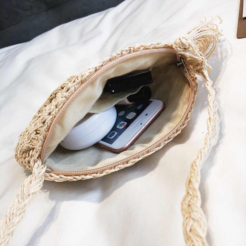 Mulheres Sacos de Verão 2019 Bolsa De Palha de Vime Redonda CASMOR Handmade Tricô Círculo Boemia Bolsa de Tecido bolsa de Praia Saco Crossbody Feminino