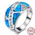 Top Grade Blue Opals Gem 100% Solid 925 Sterling Silver  Rings Women/Men Anniversary Best Gift Jewelry Bohemia Vintage