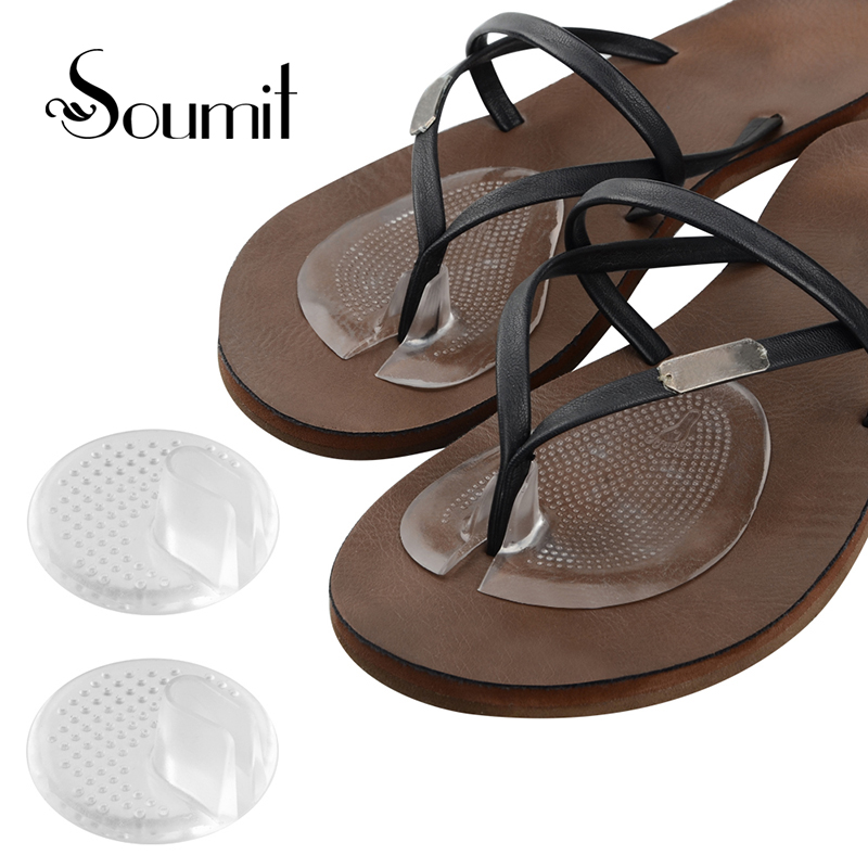 2Pair Summer Forefoot Pad Silicone Heel Invisible Flip Flop/Sandals/Slip Resistant Half Yard Pads Insoles Cushion Foot Care Tool 2 pcs foot care insoles invisible cushion silicone gel heel liner shoe pads heel pad foot massage womens orthopedic shoes z03101