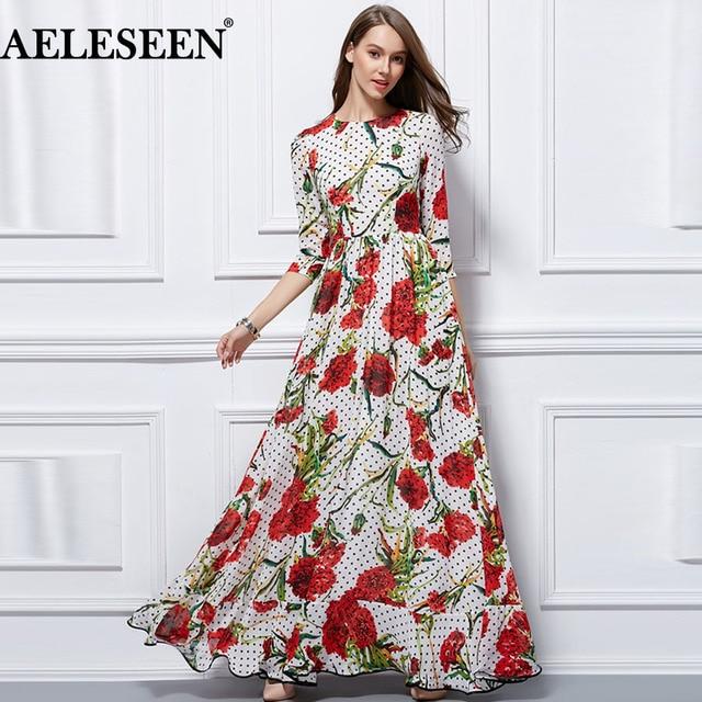 8c5604ce4cba AELESEEN Bohemian Maxi Dresses Fashion 2018 3/4 Sleeve High Quality Elegant  Summer Romantic Dot Carnation Print Long Dress