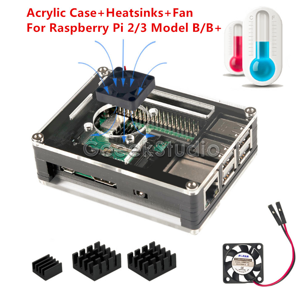 Sliced 9 Layers Acrylic Case Box Shell With Cooling Fan & Aluminum Heatsinks For Raspberry Pi 3 B+ /3 B / 2 B / B+ (Not Include)