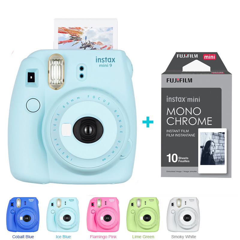 Fujifilm Instax Mini 9 Camera 5 Colors + 10 Shots Fuji Mini 9 Instant Film Monochrome Photo Paper Free Shipping 5 packs fuji fujifilm instax mini instant film monochrome photo paper for mini 8 7s 7 50s 50i 90 25 dw share sp 1 cameras