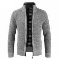 Men's Clothes Clothing Autumn Winter M 3XL Plus Size Zipper Knitwear Sweaters Male Stand Collar Cardigan Jacket Coat Outwear Top