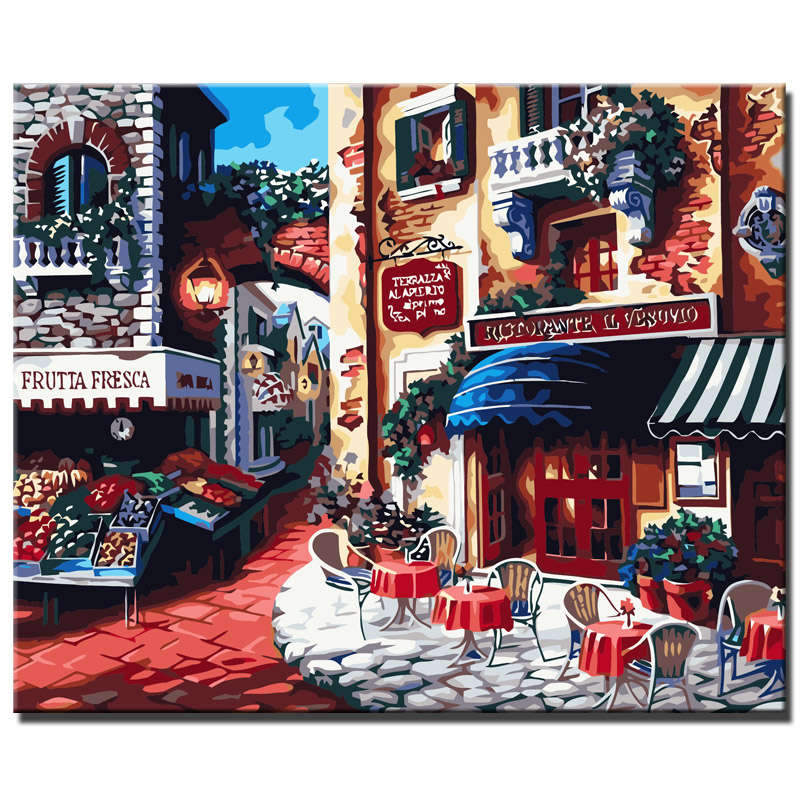 Painting Diy Digital Canvas Hand Painted Canvas Oil Painting By Numbers Home Decoration Wall Art Town Shops Pictures