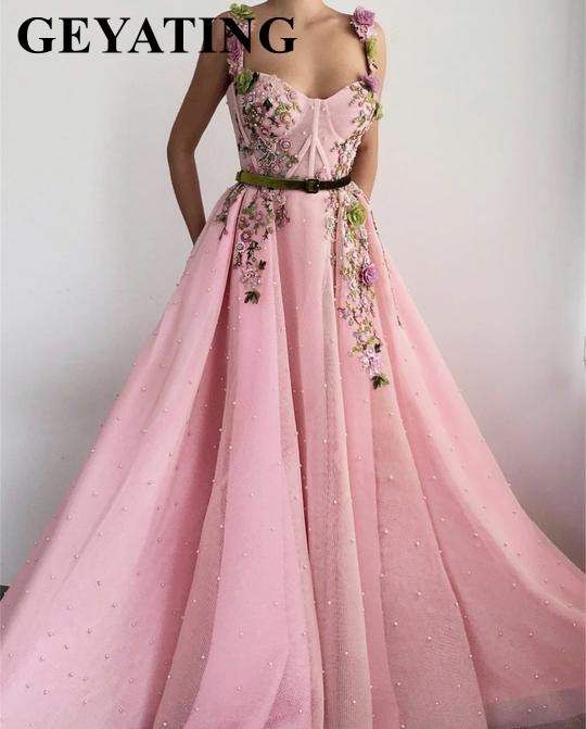 Sweet Girls Rose Pink 3D Floral   Prom     Dresses   2019 Long Spaghetti Straps Pearls Flowers Evening Party Gowns Junior Formal   Dress