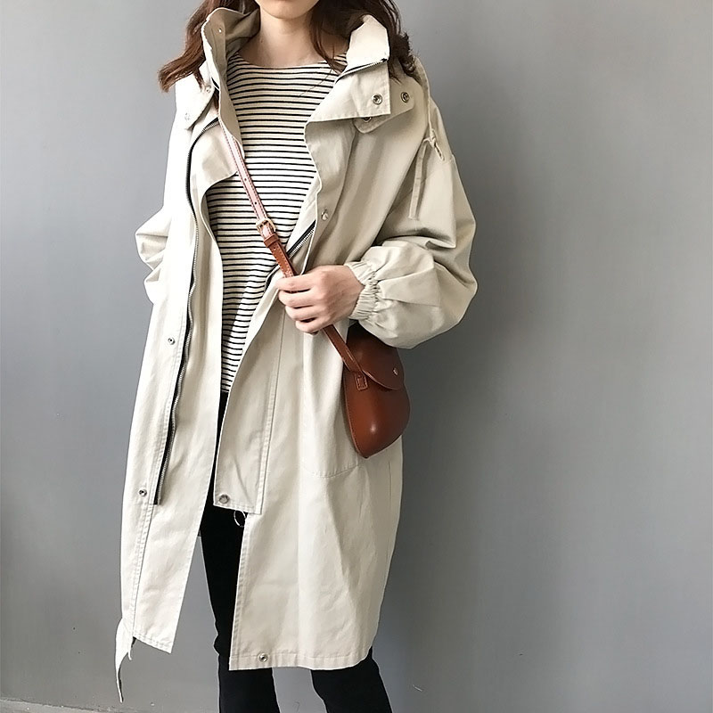large size women clothing 2018 spring autumn fashion new female windbreaker women loose hooded   trench   coat women long overcoat