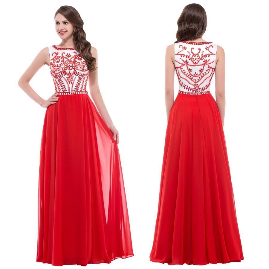Dresses Red Long Evening Dresses Beaded Prom Formal Dresses