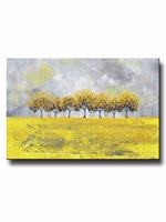 Handmade Art Abstract Yellow Grey Oil Painting Tree Landscape Canvas Hand Painted Modern Nature Rain Gold