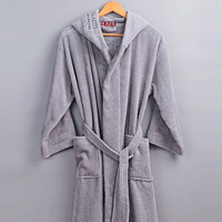 XMS Brand 100 Cotton Bathrobe Hooded Thick Warm Winter Spring Dressing Gown Long Robe Wedding Bridesmaid
