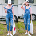 Nova Primavera Outono Mulheres Casual Denim macacões Rompers Macacões calças Jeans Femininas Listrado Longo Bolsos Das Calças de Cowboy Do Vintage JS-5433