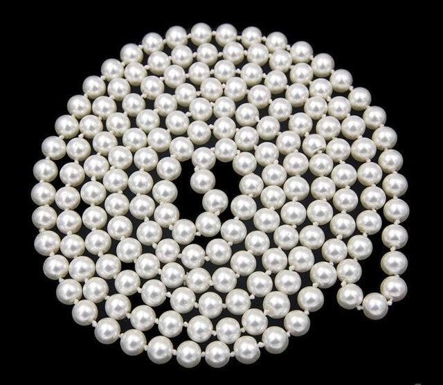 Venda quente novo estilo >> >> > 48 '' branco longo Natural 8 mm reais do sul do mar Shell pérola contas de colar de jóias