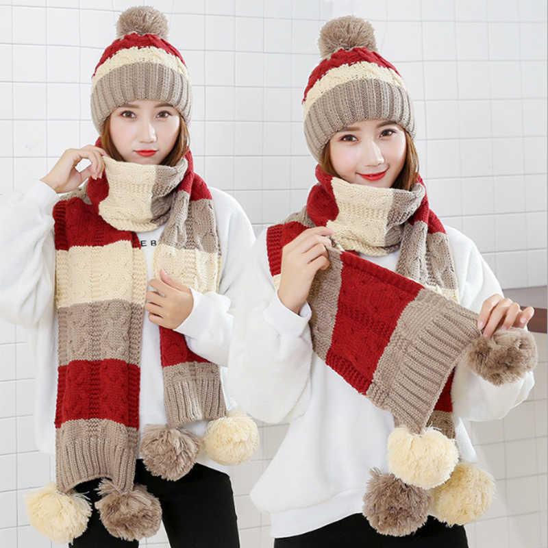 ファッションギフト暖かいウール冬の女性のキャップとスカーフエレガントなスカーフ帽子セット女性 2 種類のキャップスカーフセットスカーフロングレディーススカーフ
