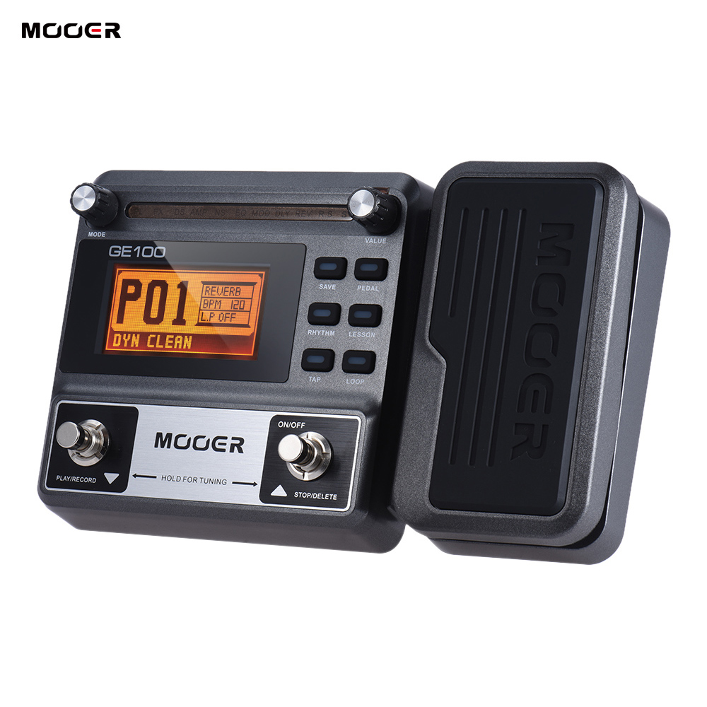 MOOER GE100 Guitar Pedal Multi effects Processor Effect Pedal with Loop Recording Tuning Tap Tempo Rhythm