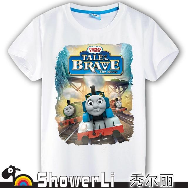 Хлопок короткий рукав детей футболки, милый мультфильм, игровые мальчики девочки детской одежды Томас и его друзья поезд