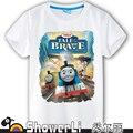 De algodón de manga corta camisetas de niños, lindo de la historieta, juego de las muchachas desgaste de los niños de Thomas y sus amigos tren