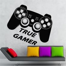 Wall Decal True Gamer Game Room Play Joystick Video Vinyl Stickers Art home decoration Wall Sticker