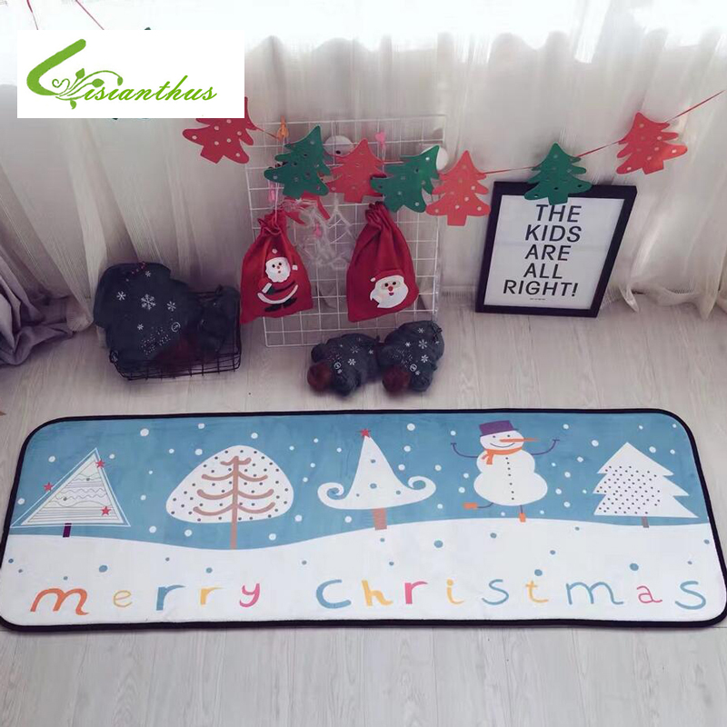 Merry Christmas Carpets Cartoon Flannel Door Mats Snowmen Printed Carpet Livingroom Bedroom Floor Mats Kitchen Christmas Rugs