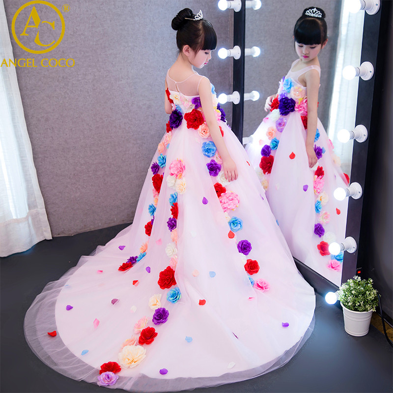 Girl Evening Dress Model Catwalk Flowers Fairy Wedding Birthday Princess Gown Children's Piano Costume Powder Vestido De Festa вечернее платье erose evening dress 2015 vestido evening dress ade 232