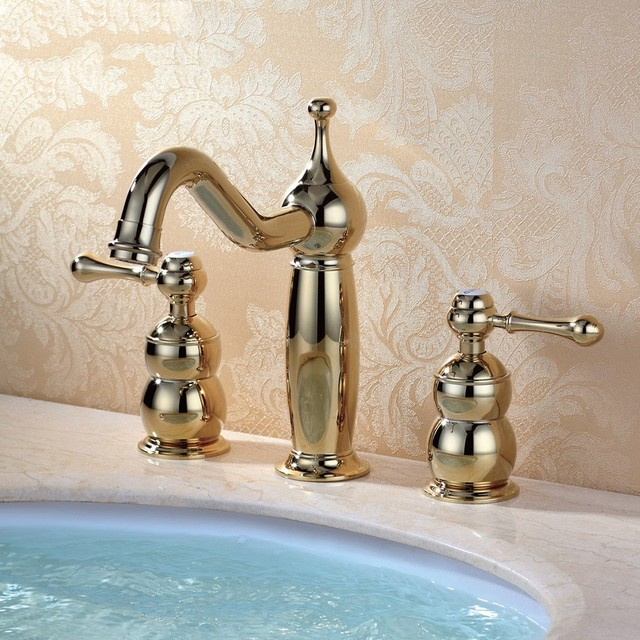 Luxury Gold All Brass Waterfall Widespread Bathroom Sink Faucet