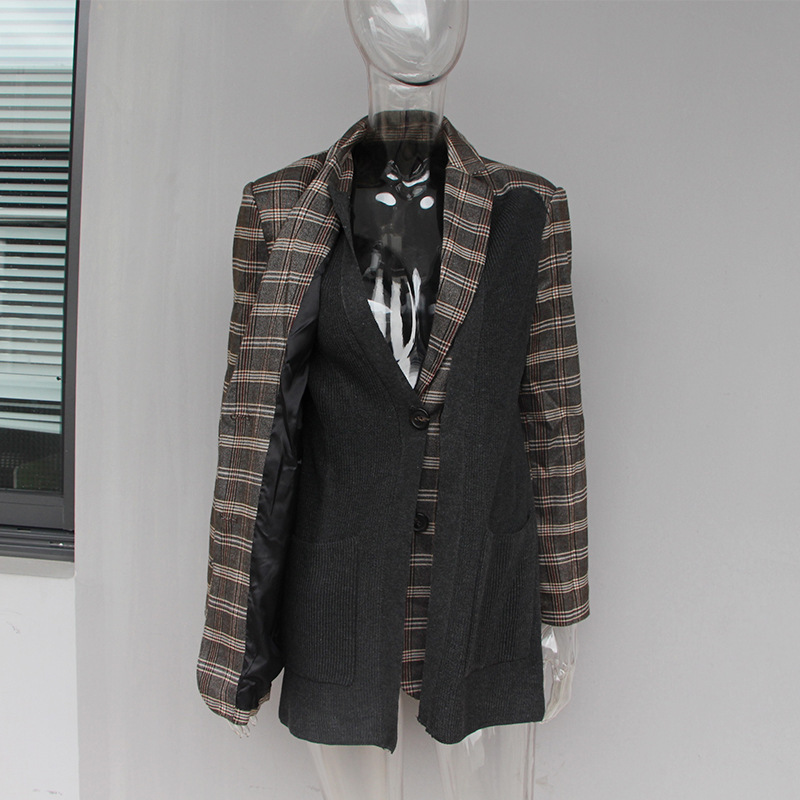 Vintage Turn Feminino Survêtement Plaid Blazer Streetwear Patchwork down Casaco 2018 Chandail Col Rayé Veste Manteau Entaillé 04qaR7O